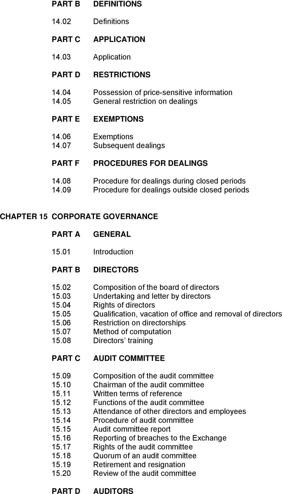09 Procedure for dealings outside closed periods CHAPTER 15 CORPORATE GOVERNANCE PART A GENERAL 15.01 Introduction PART B DIRECTORS 15.02 Composition of the board of directors 15.