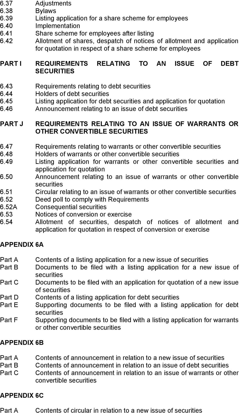 43 Requirements relating to debt securities 6.44 Holders of debt securities 6.45 Listing application for debt securities and application for quotation 6.
