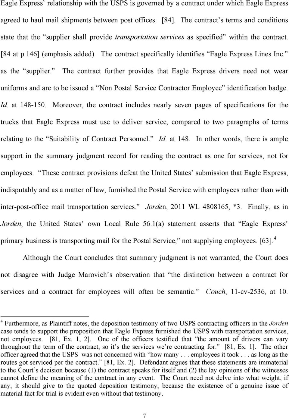 The contract specifically identifies Eagle Express Lines Inc. as the supplier.