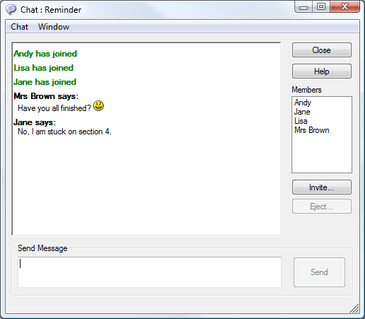 Members To exclude Clients from the Chat session, remove the check mark next to the Student name.