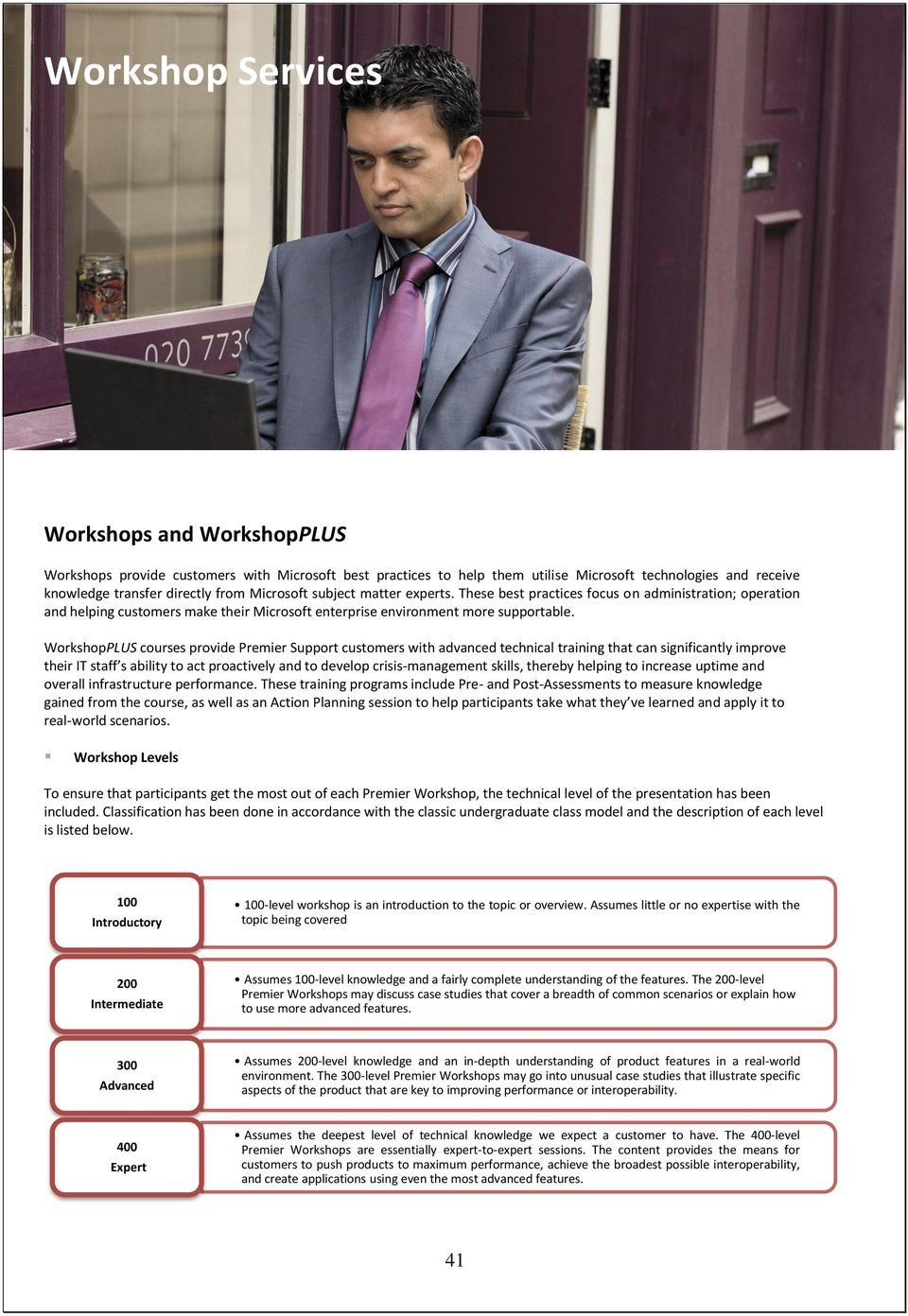 WorkshopPLUS courses provide Premier Support customers with advanced technical training that can significantly improve their IT staff s ability to act proactively and to develop crisis-management