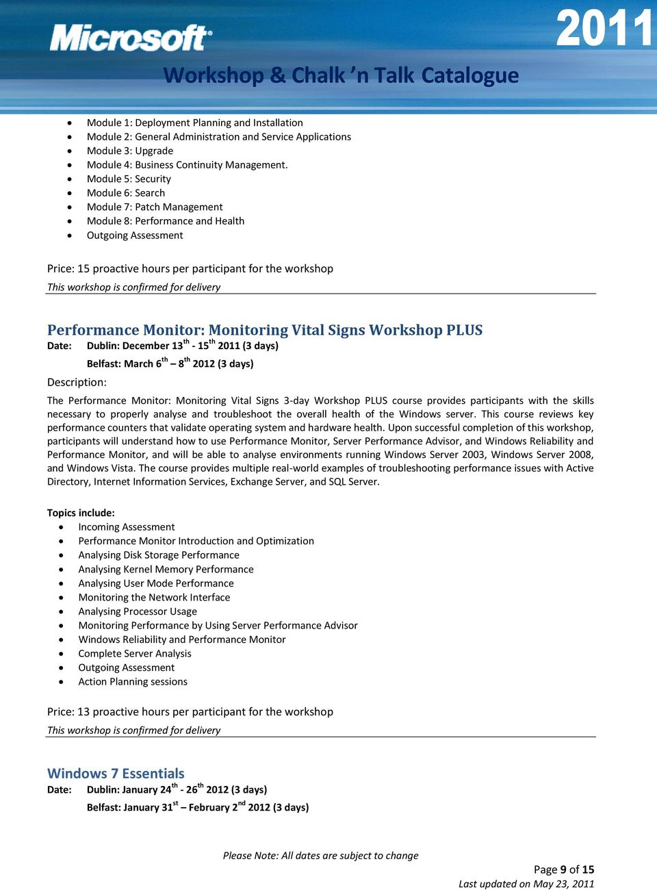 Monitoring Vital Signs Workshop PLUS Date: Dublin: December 13 th - 15 th 2011 (3 days) Belfast: March 6 th 8 th 2012 (3 days) The Performance Monitor: Monitoring Vital Signs 3-day Workshop PLUS