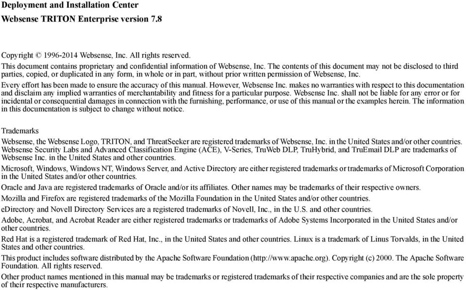 The contents of this document may not be disclosed to third parties, copied, or duplicated in any form, in whole or in part, without prior written permission of Websense, Inc.