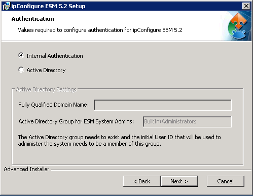 Step 5: SQL Database- Confirm the database settings Step 6: Authentication 1 5 2 *Note- The installer will auto populate based on a SQL but if you would like to manually control or the automatic
