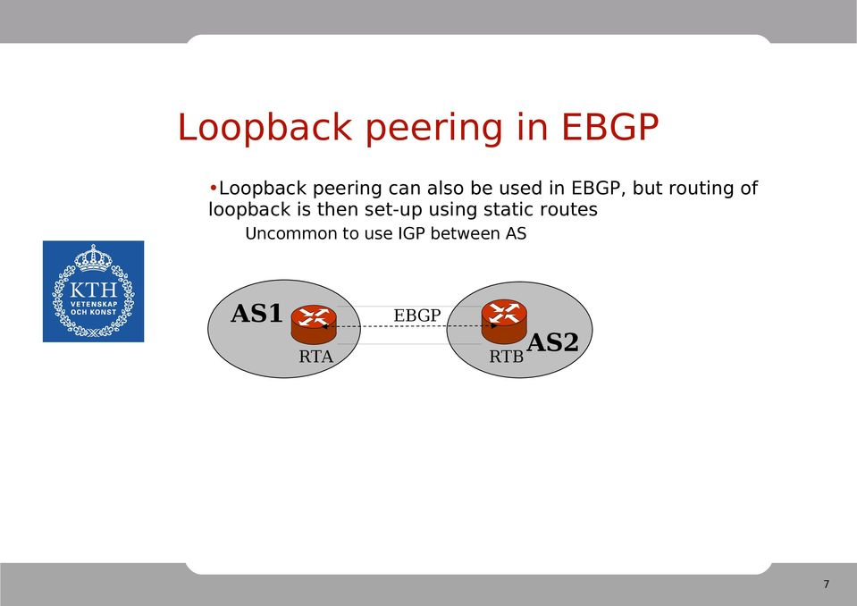 loopback is then set-up using static routes