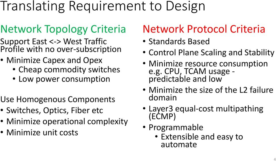 Minimize unit costs Network Protocol Criteria Standards Based Control Plane Scaling