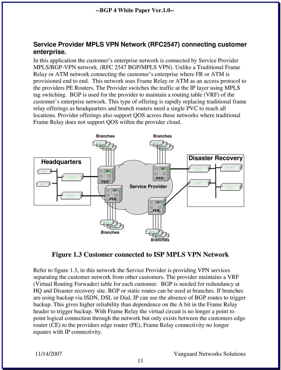 This network uses Frame Relay or ATM as an access protocol to the providers PE Routers. The Provider switches the traffic at the IP layer using MPLS tag switching.