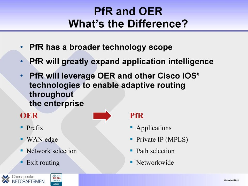 PfR will leverage OER and other Cisco IOS technologies to enable adaptive routing