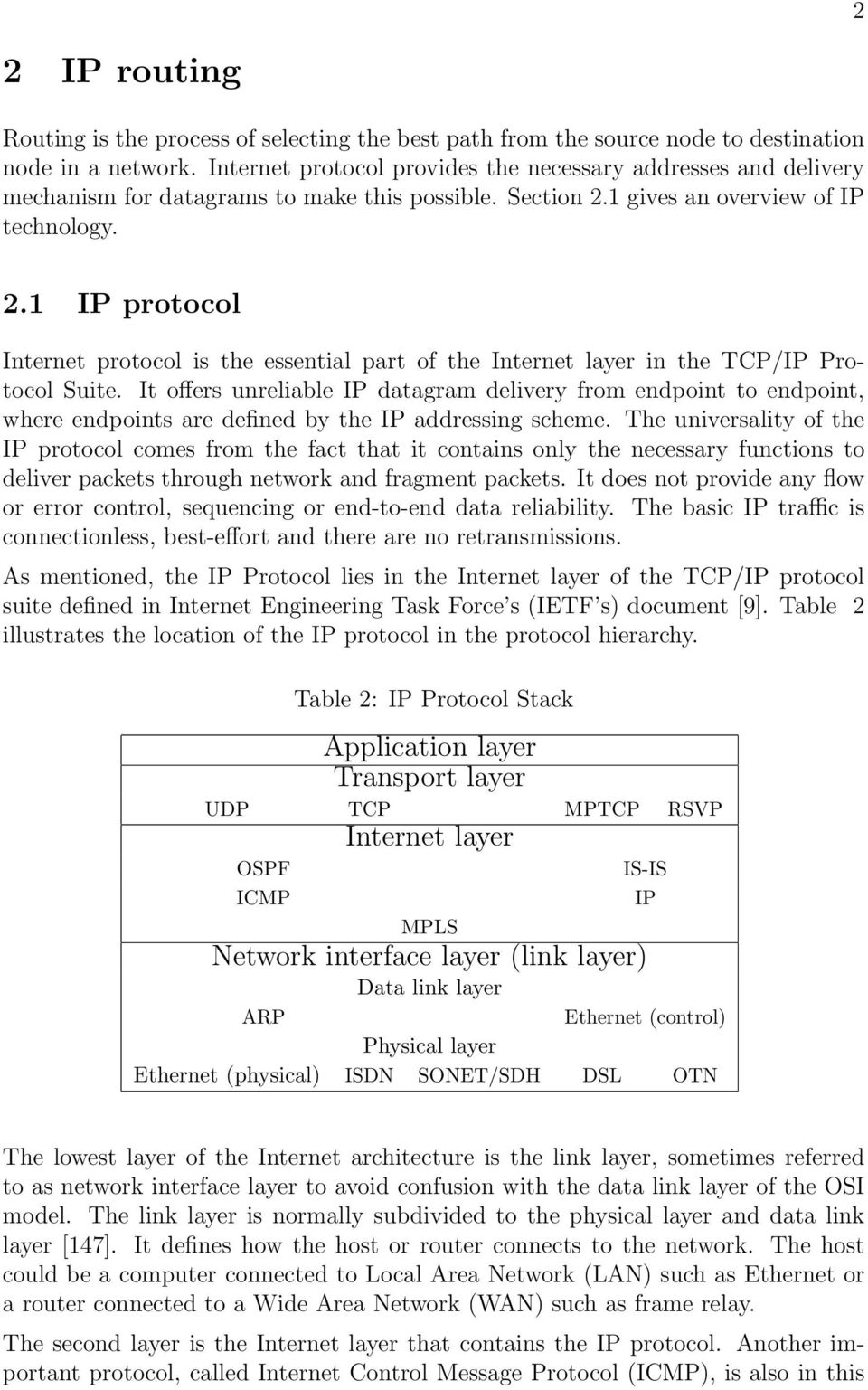 1 gives an overview of IP technology. 2.1 IP protocol Internet protocol is the essential part of the Internet layer in the TCP/IP Protocol Suite.