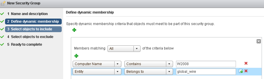 Chapter 13 Network and Security Objects 7 On the Dynamic Membership page, define the criteria that an object must meet for it to be added to the security group you are creating.