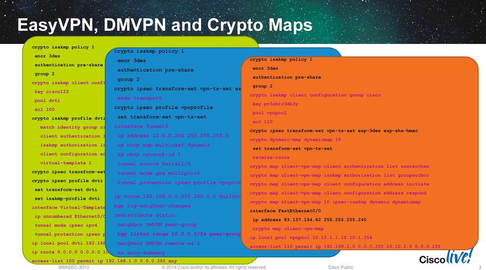 pool dvti mode transport key pr3sh@r3dk3y acl 100 crypto ipsec profile vpnprofile pool vpnpool crypto isakmp profile dvti set transform-set vpn-ts-set acl 110 match identity group cisco interface