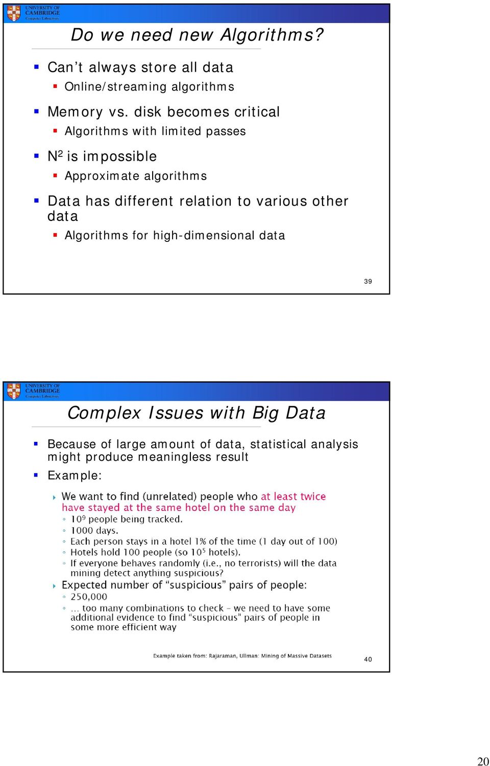 has different relation to various other data Algorithms for high-dimensional data 39 Complex Issues
