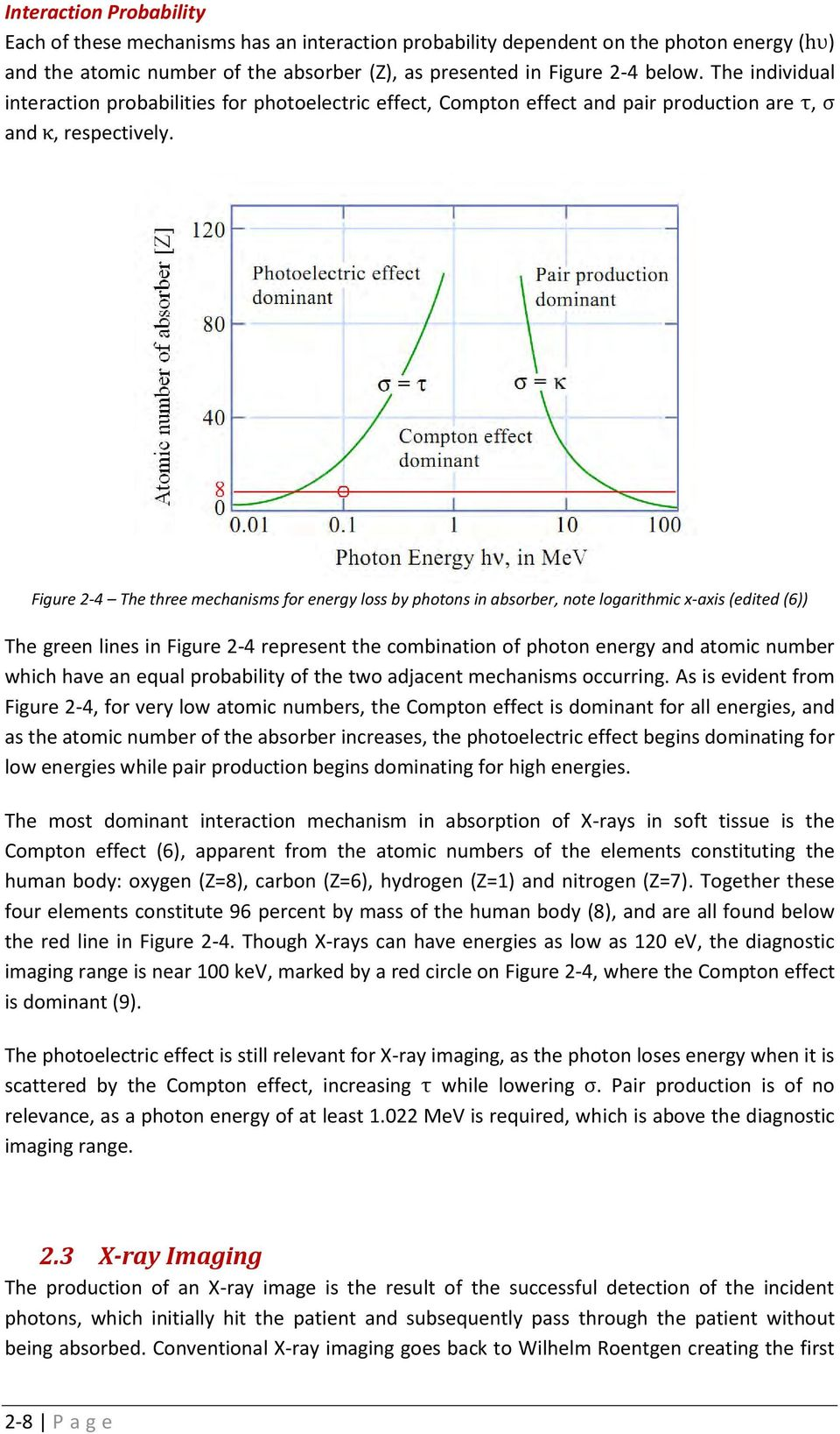 Figure 2-4 The three mechanisms for energy loss by photons in absorber, note logarithmic x-axis (edited (6)) The green lines in Figure 2-4 represent the combination of photon energy and atomic number