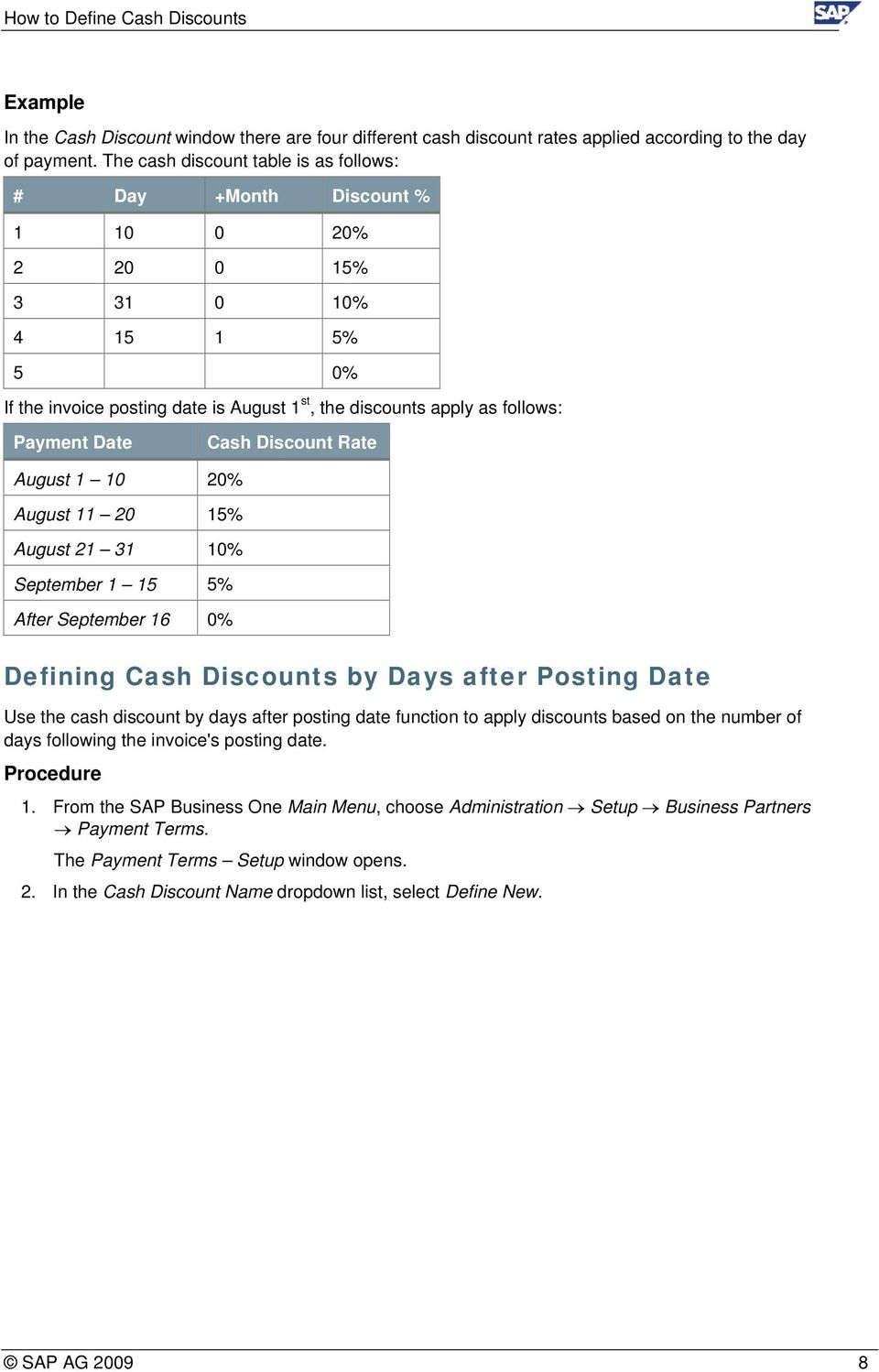 Cash Discount Rate August 1 10 20% August 11 20 15% August 21 31 10% September 1 15 5% After September 16 0% Defining Cash Discounts by Days after Posting Date Use the cash discount by days after