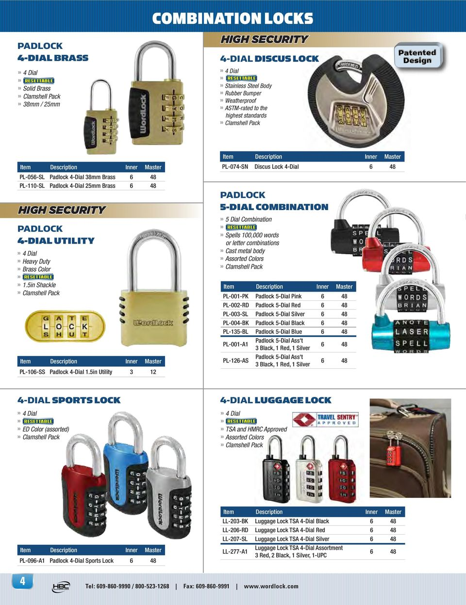 5in Shackle PL-106-SS Padlock 4-Dial 1.