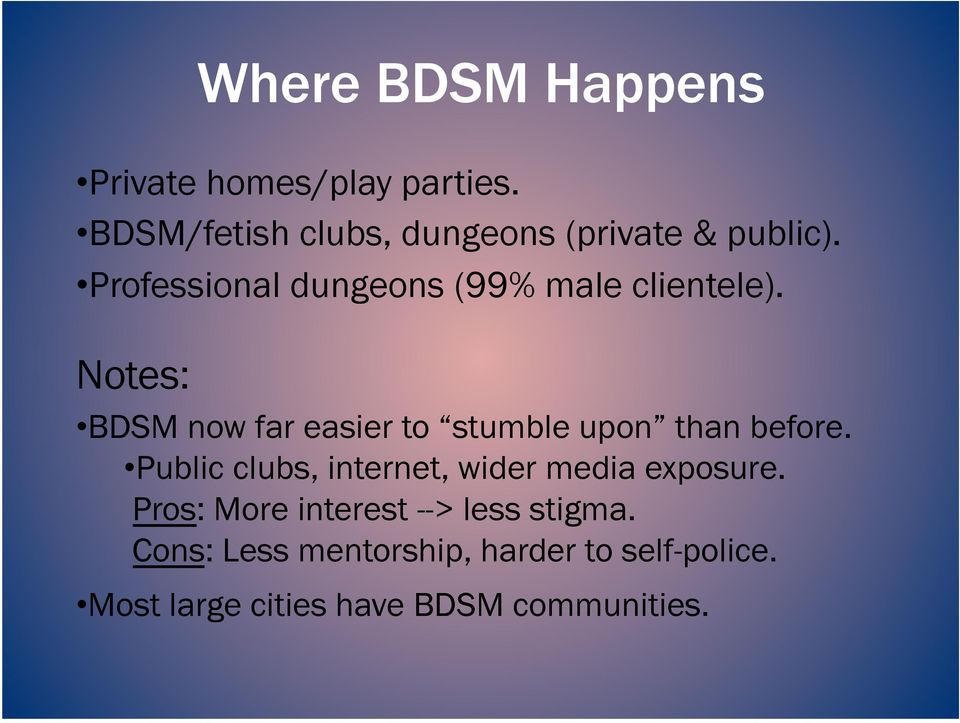 Notes: BDSM now far easier to stumble upon than before.