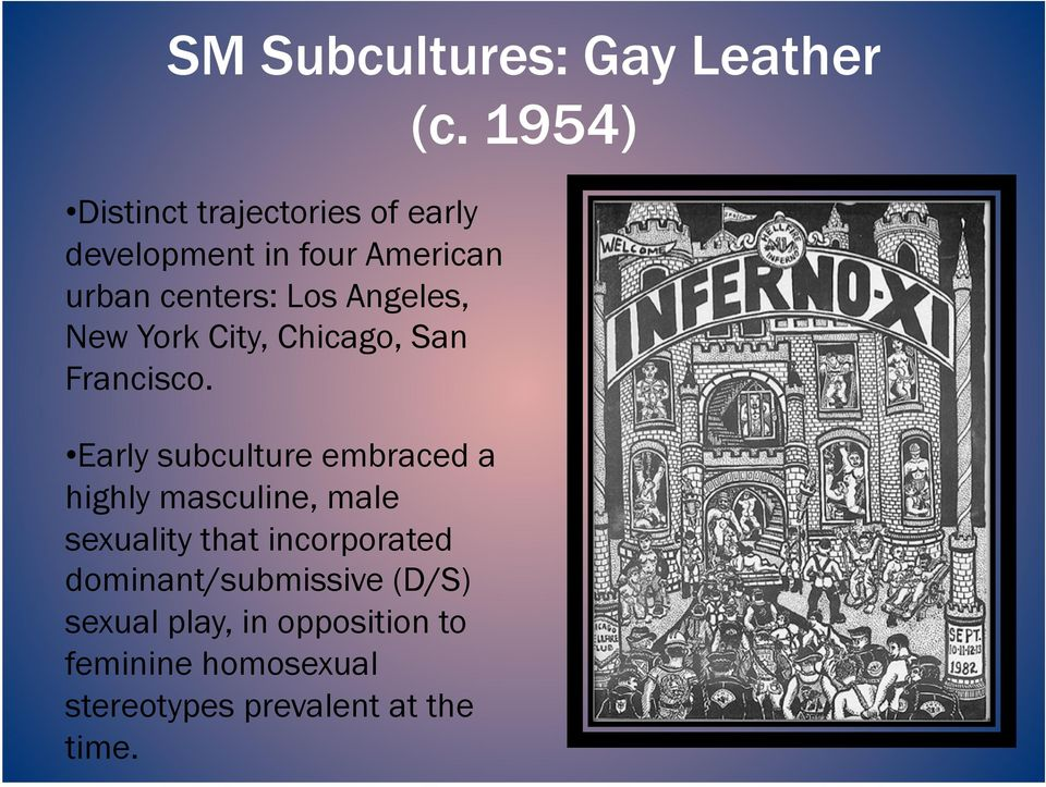 Early subculture embraced a highly masculine, male sexuality that incorporated