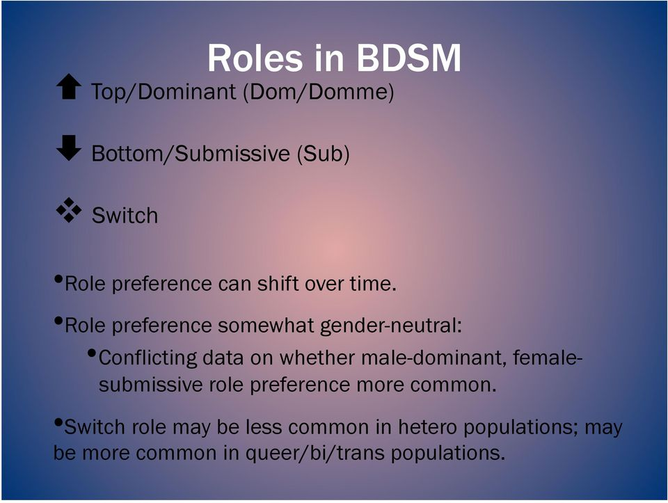 Role preference somewhat gender-neutral: Conflicting data on whether male-dominant,
