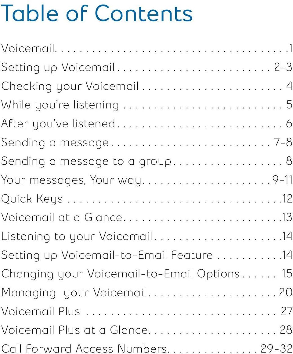 ................... 9- Quick Keys.................................. Voicemail at a Glance......................... 3 Listening to your Voicemail.................... 4 Setting up Voicemail-to-Email Feature.