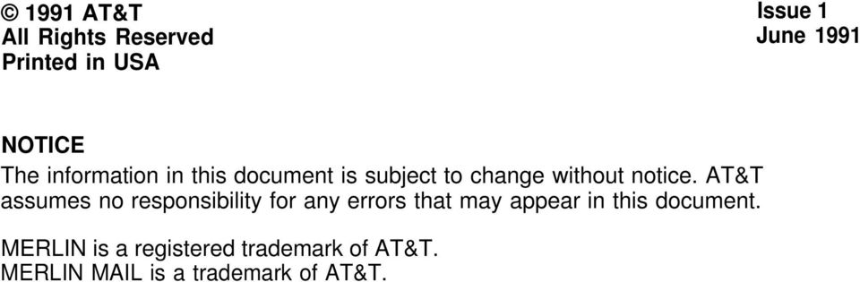 AT&T assumes no responsibility for any errors that may appear in this