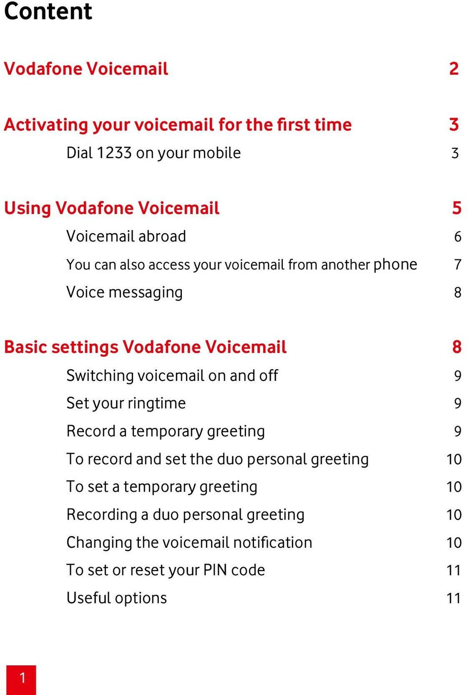 Switching voicemail on and off 9 Set your ringtime 9 Record a temporary greeting 9 To record and set the duo personal greeting 10 To set