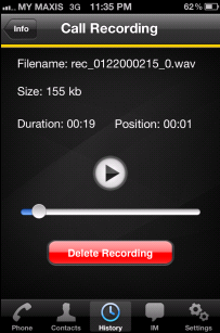 Using BizVoice for iphone Recording Calls Recording Indicator Tap more, then tap Start Recording You can pause
