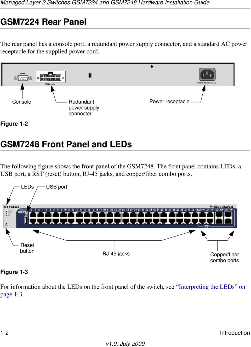 GSM7248. The front panel contains LEDs, a USB port, a RST (reset) button, RJ-45 jacks, and copper/fiber combo ports.