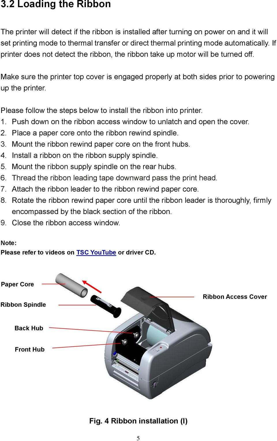 Please follow the steps below to install the ribbon into printer. 1. Push down on the ribbon access window to unlatch and open the cover. 2. Place a paper core onto the ribbon rewind spindle. 3.