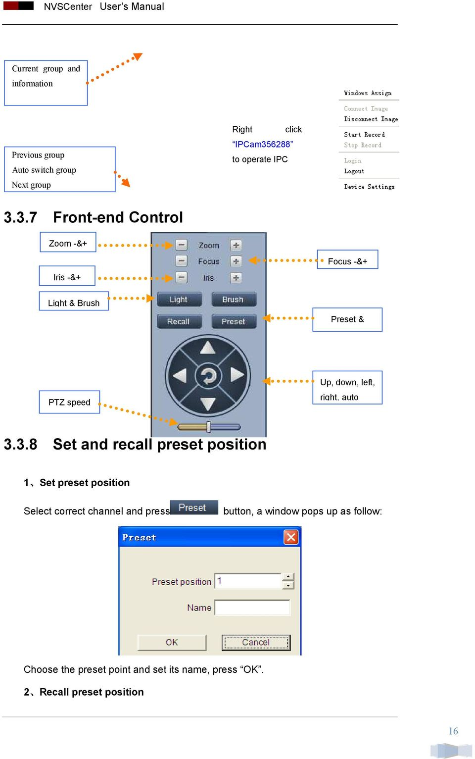3.7 Front-end Control Zoom -&+ Iris -&+ Focus -&+ Light & Brush Preset & PTZ speed Up, down, left, right,