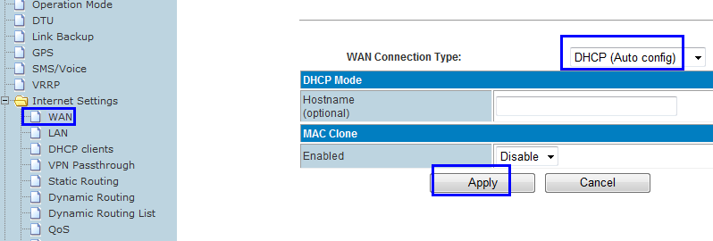 Step 4) if Step 3 choose A, please set WAN as DHCP and click Apply The RF-R586 gets WAN IP and default gateway from the up-side