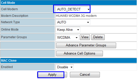 Solution: Step 1) RF-R586 Router Web Internet Settings WAN, at Cell Modem, please choose AUTO_DETECT and click Apply button.