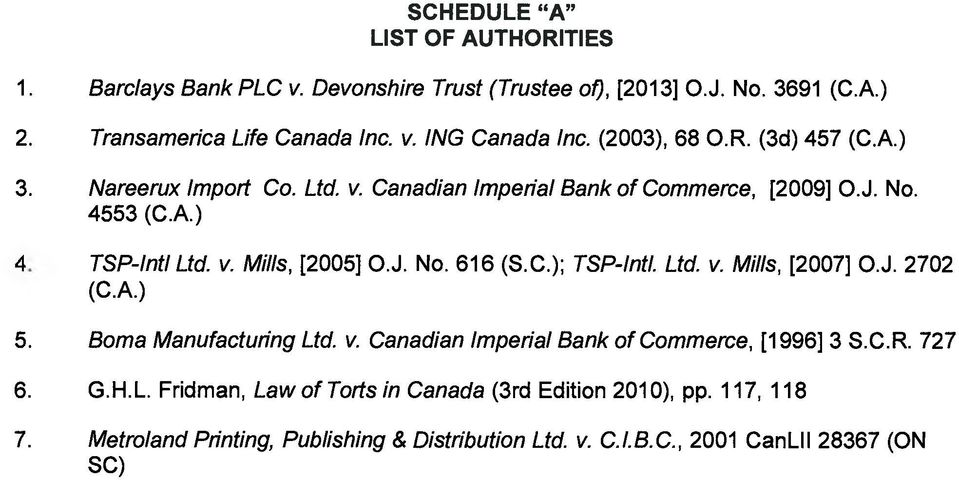 J. No. 616 (S.C.); TSP-Intl. Ltd. v. Mills, [2007] O.J. 2702 (C.A.) 5. Boma Manufacturing Ltd. v. Canadian Imperial Bank of Commerce, [1996] 3 S.C.R. 727 6. G.H.L. Fridman, Law of Torts in Canada (3rd Edition 2010), pp.