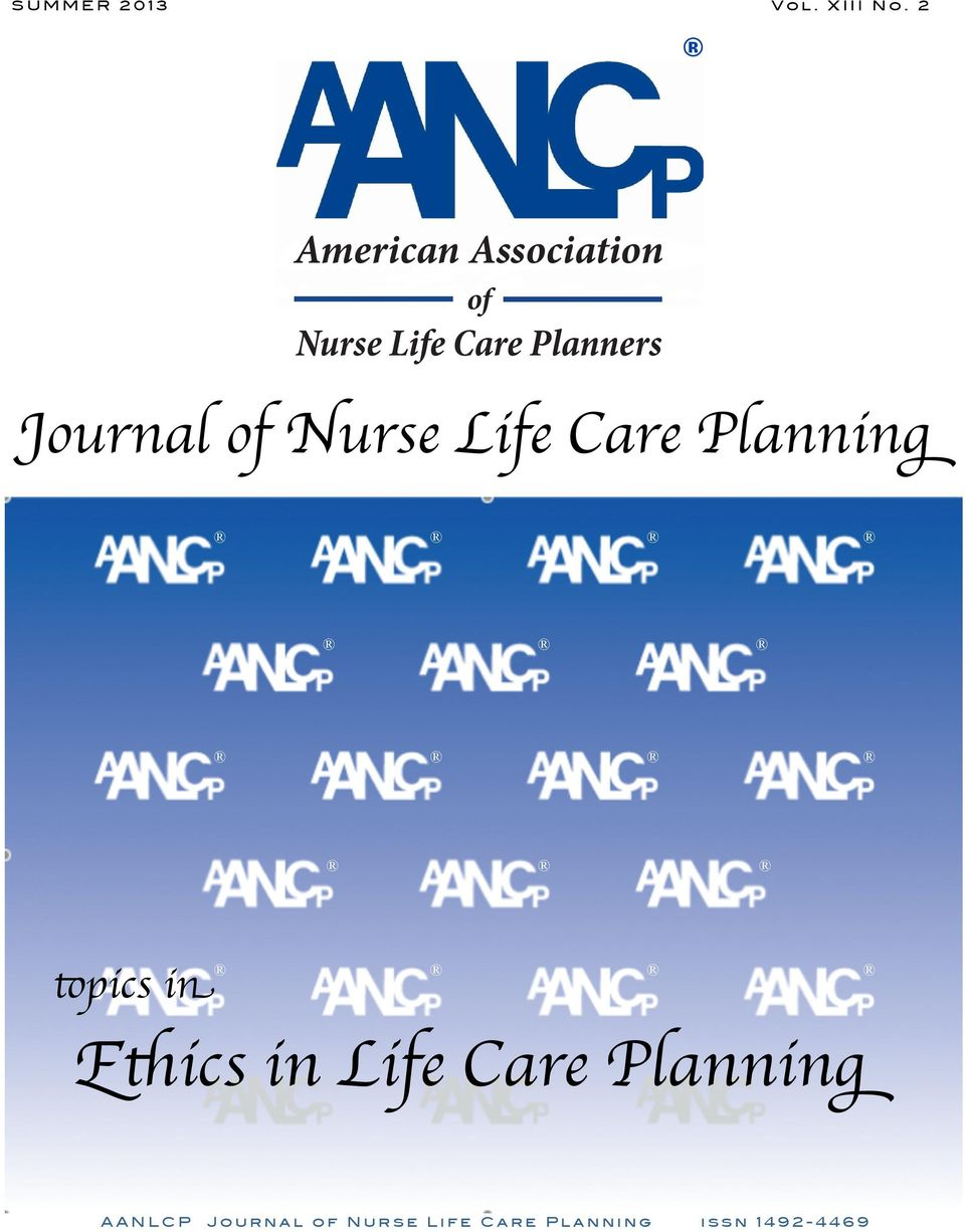 Journal of Nurse Life Care Planning topics in Ethics