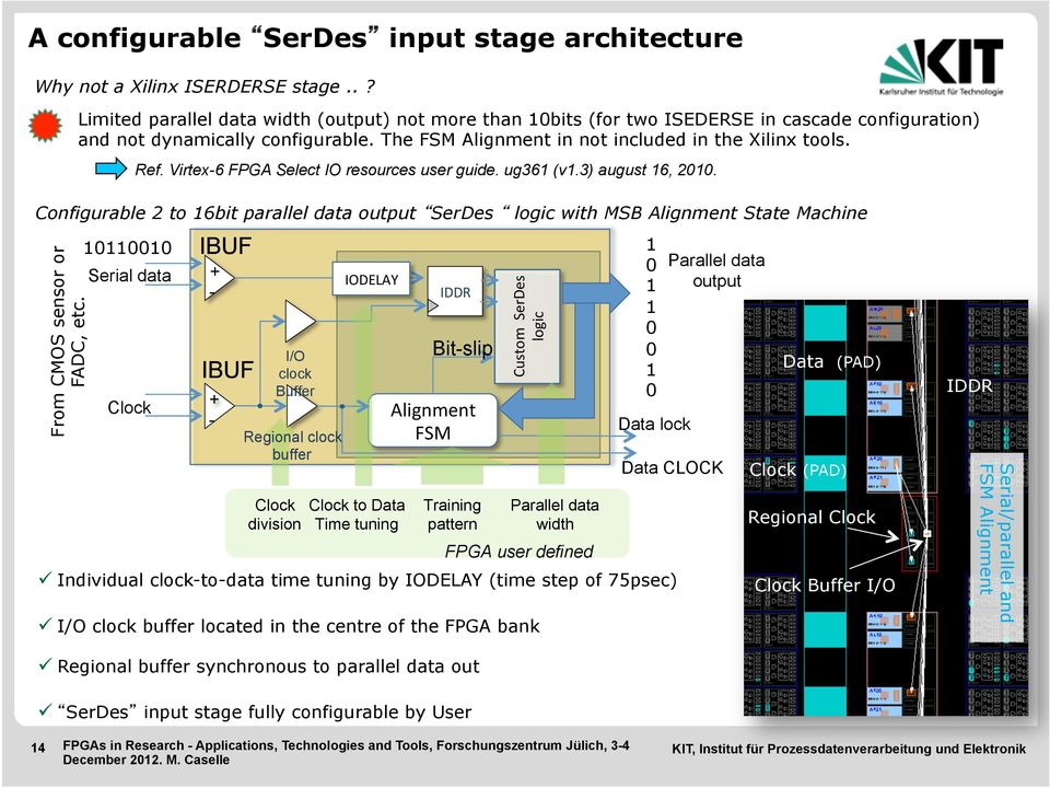 Virtex-6 FPGA Select IO resources user guide. ug361 (v1.3) august 16, 2010. Configurable 2 to 16bit parallel data output SerDes logic with MSB Alignment State Machine From CMOS sensor or FADC, etc.