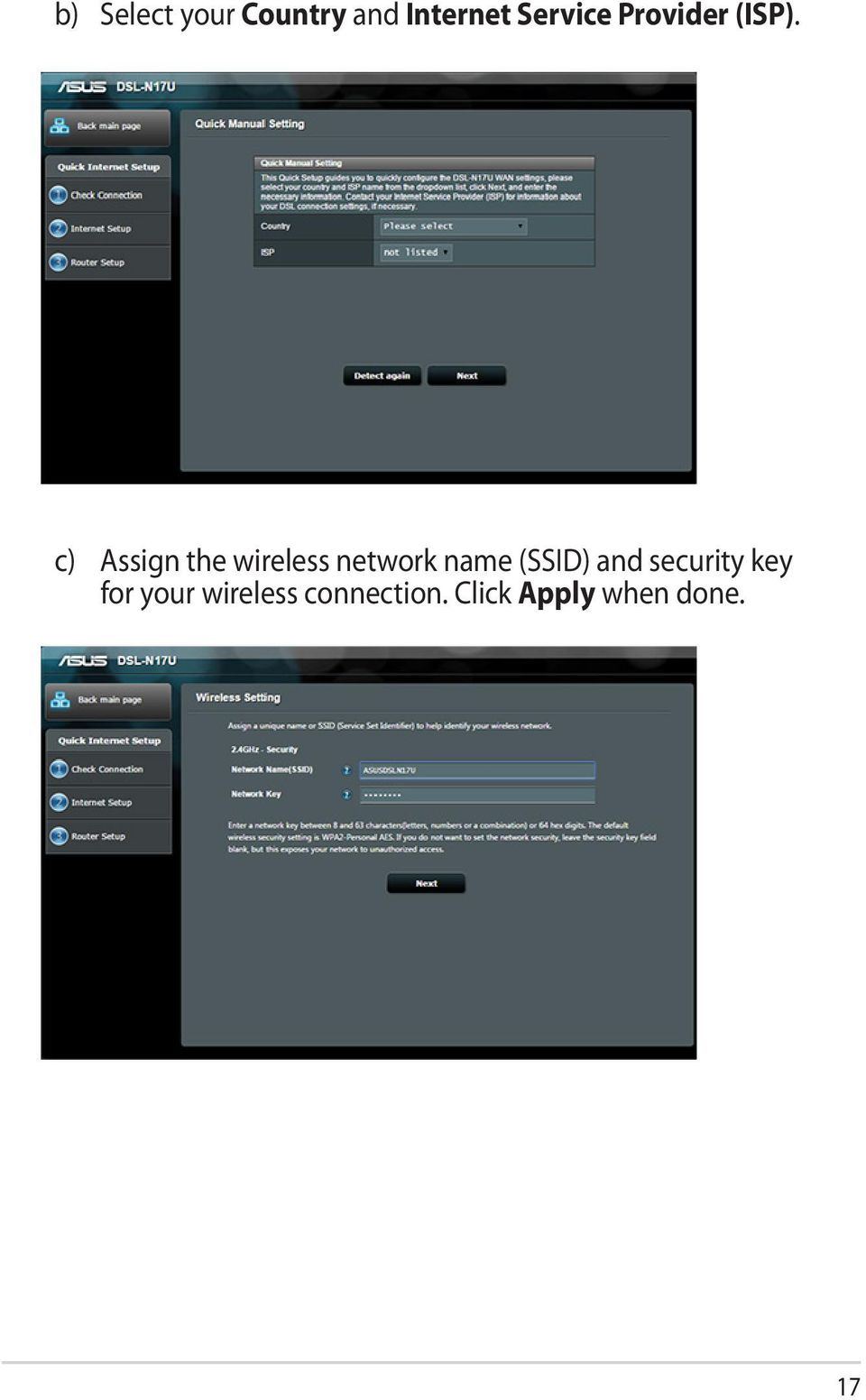 c) Assign the wireless network name (SSID)