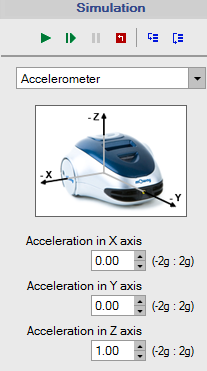 Accelerometer: it simulates the variation of the accelerometer value in its 3 axis.