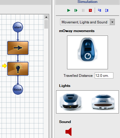 Page 67 of 84 7.3. Simulation example The following example shows the simulation of a program in which the robot moves straight for 12cm and then lights the front LED.