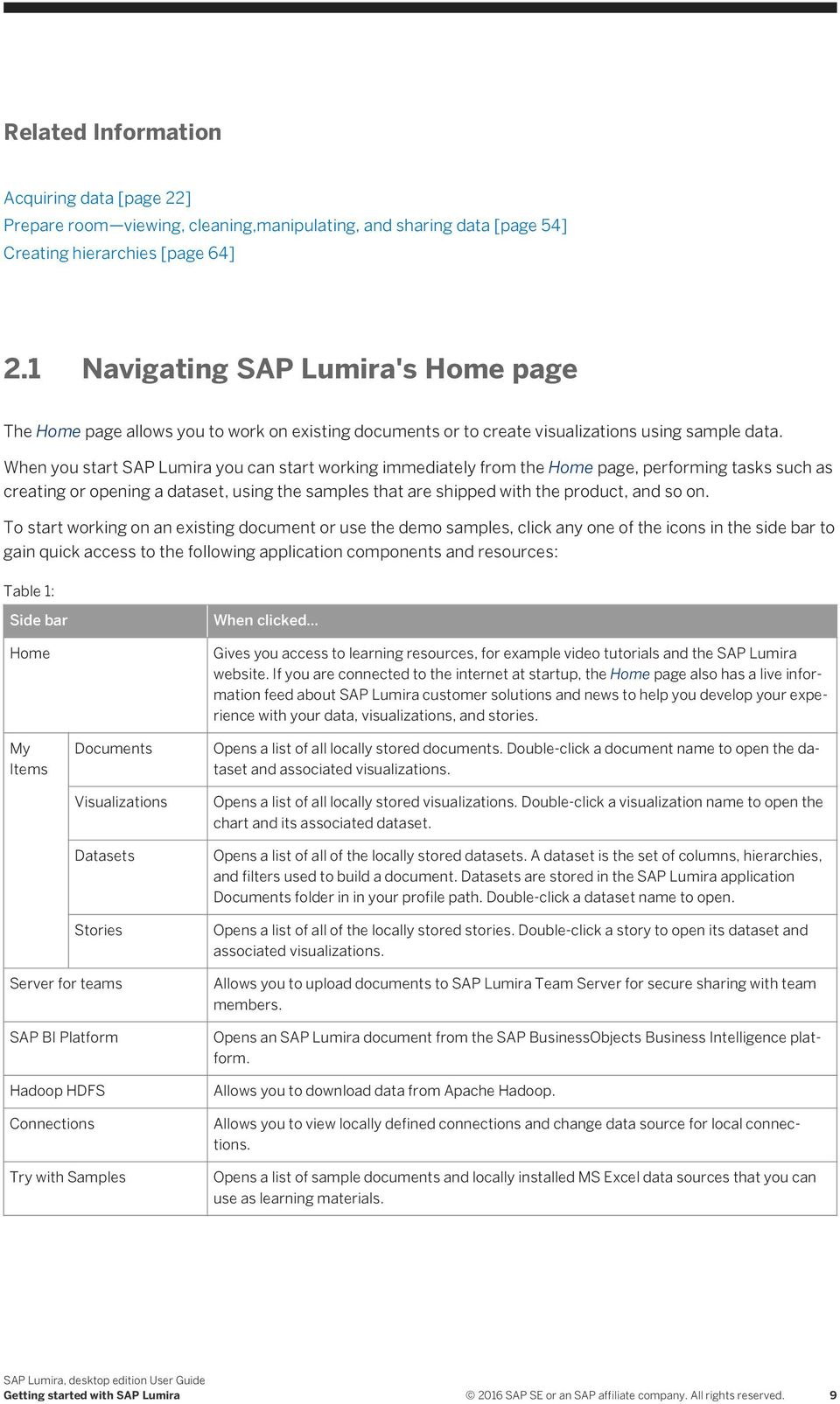 When you start SAP Lumira you can start working immediately from the Home page, performing tasks such as creating or opening a dataset, using the samples that are shipped with the product, and so on.