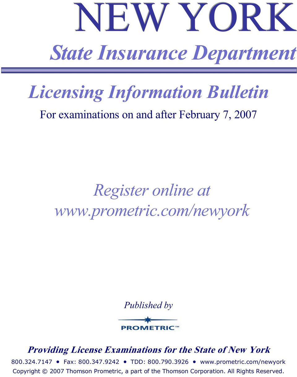 com/newyork Published by Providing License Examinations for the State of New York 800.324.