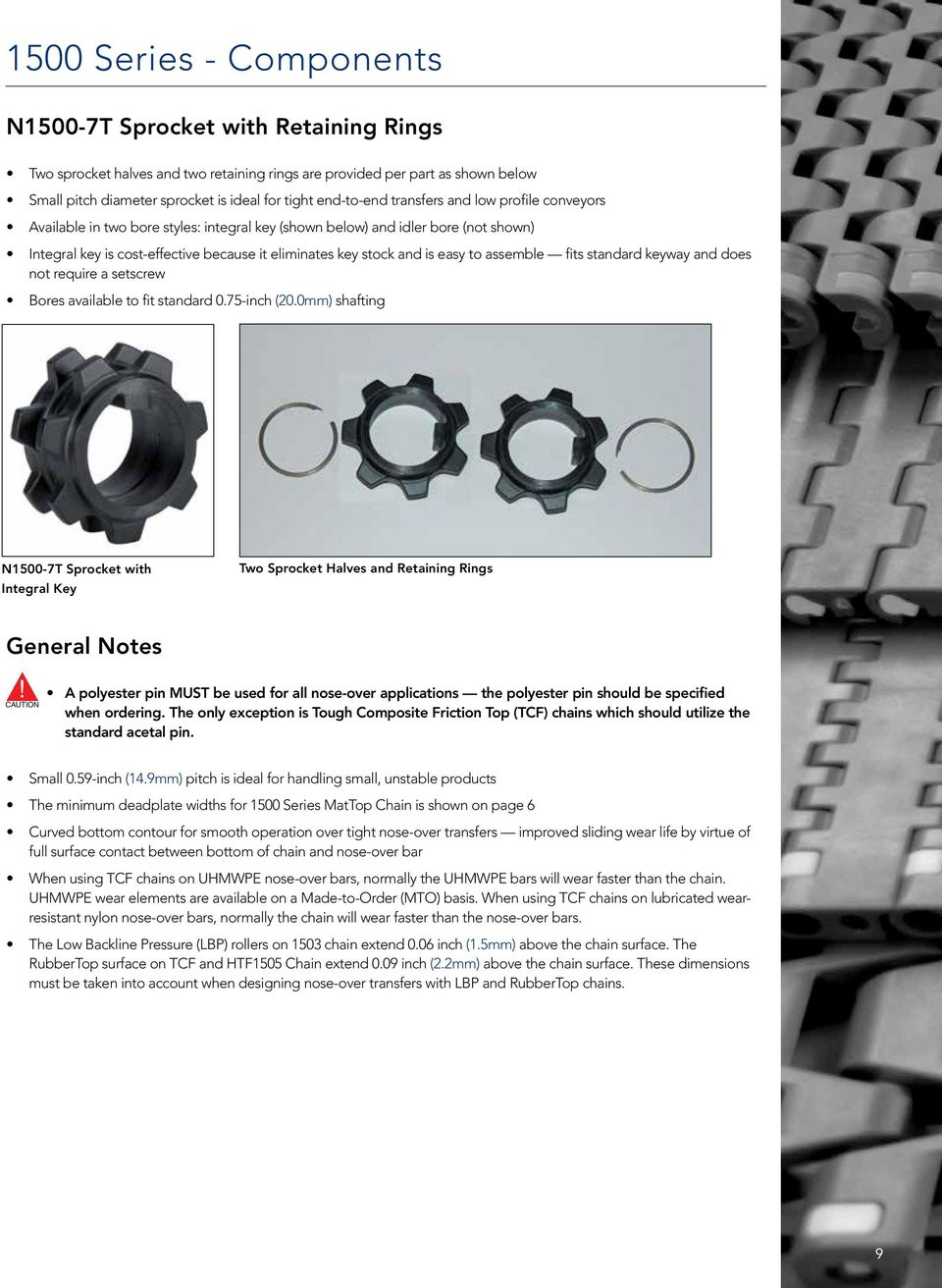 is easy to assemble fits standard keyway and does not require a setscrew Bores available to fit standard 0.75-inch (20.
