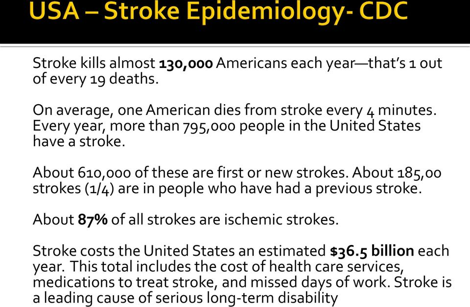 About 185,00 strokes (1/4) are in people who have had a previous stroke. About 87% of all strokes are ischemic strokes.