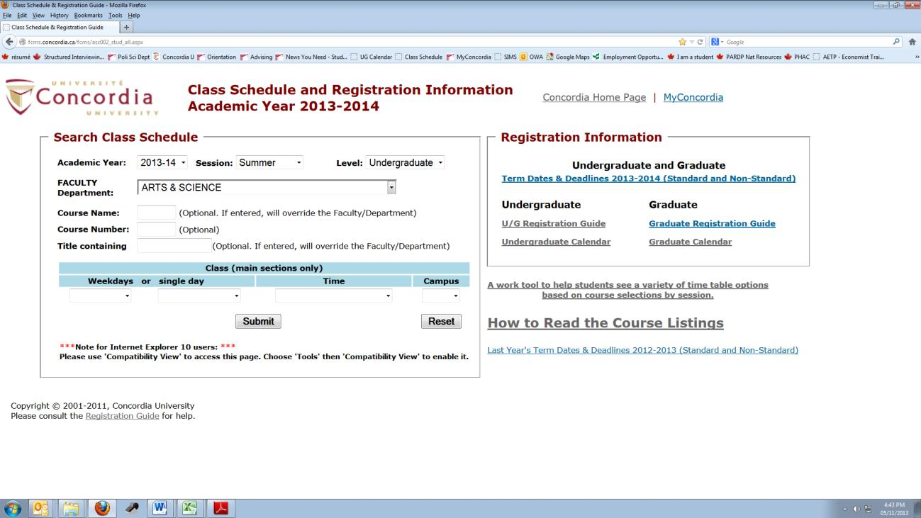 This is the second webpage you will want open during registration. This is the page where you check to see what courses are offered at the University, in any department.
