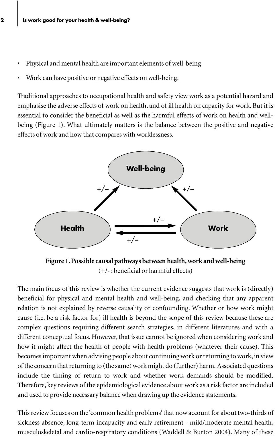 But it is essential to consider the beneficial as well as the harmful effects of work on health and wellbeing (Figure 1).