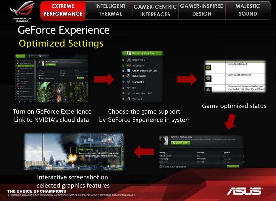support by GeForce Experience in system Game optimized