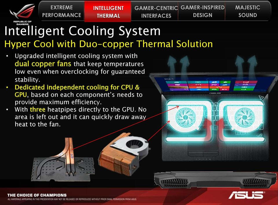 Dedicated independent cooling for CPU & GPU, based on each component s needs to provide maximum