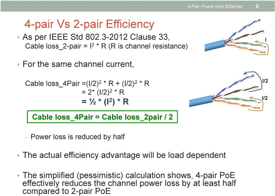 + (I/2) 2 * R = 2* (I/2) 2 * R = ½ * (I 2 ) * R I/2 I/2 Cable loss_4pair = Cable loss_2pair / 2 - Power loss is reduced by half The