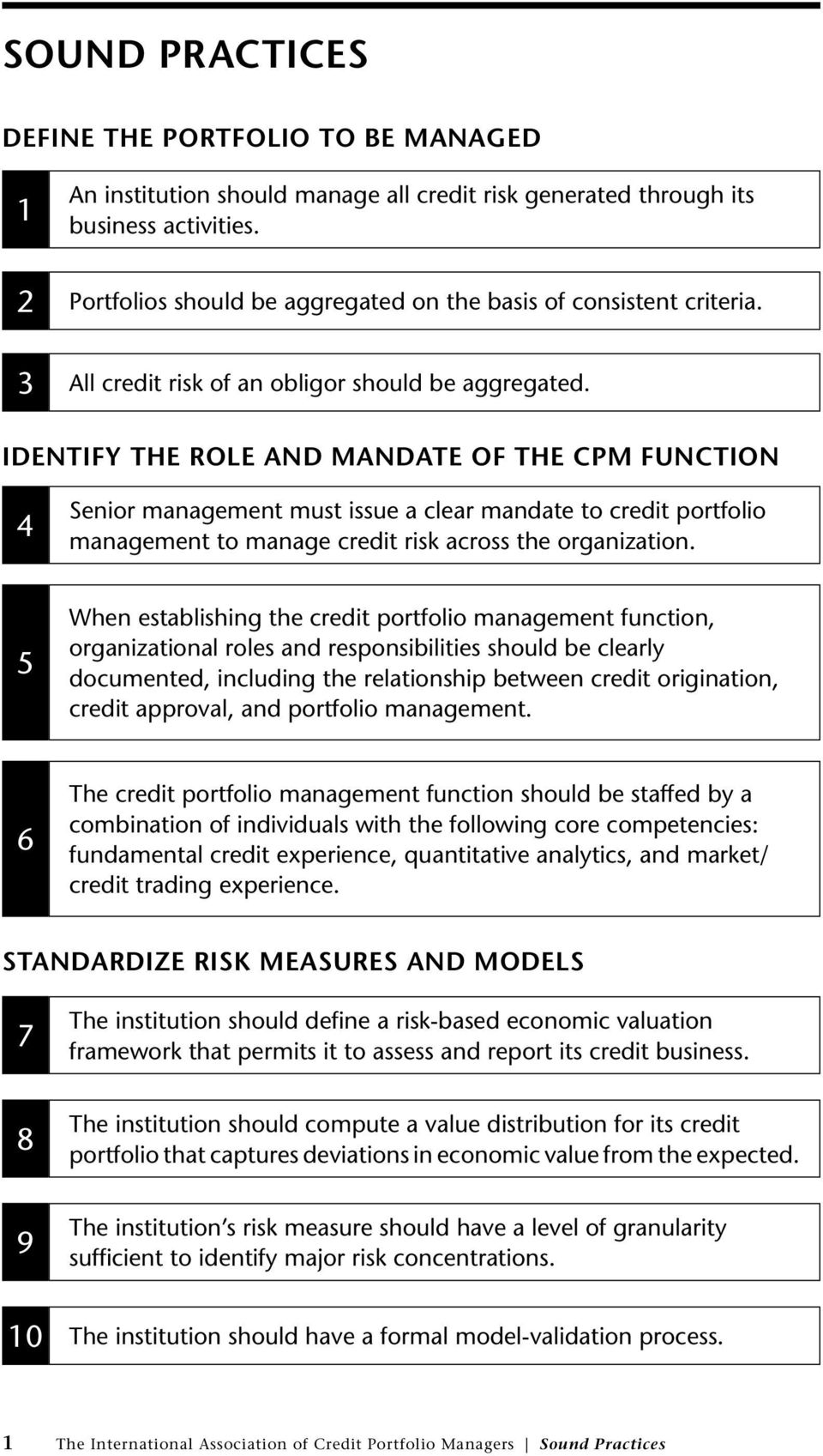 Identify the Role and Mandate of the CPM Function 4 Senior management must issue a clear mandate to credit portfolio management to manage credit risk across the organization.
