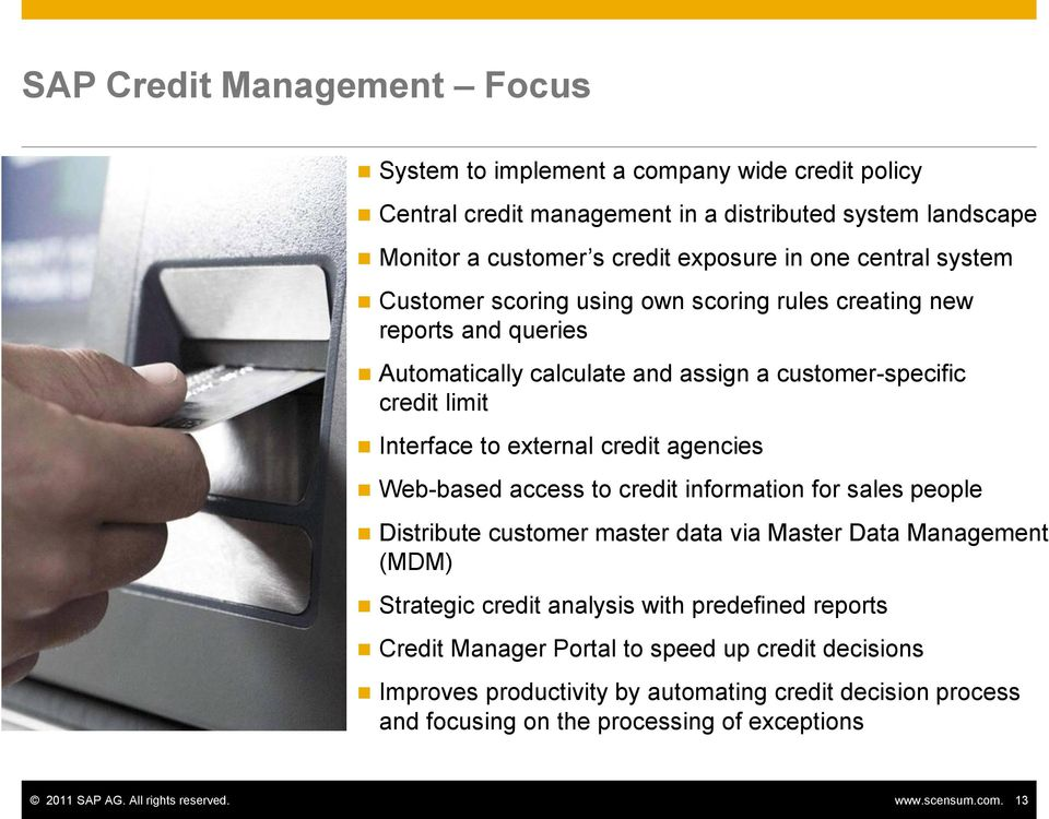 Web-based access to credit information for sales people Distribute customer master data via Master Data Management (MDM) Strategic credit analysis with predefined reports Credit Manager