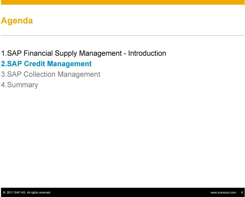 Introduction 2.SAP Credit Management 3.