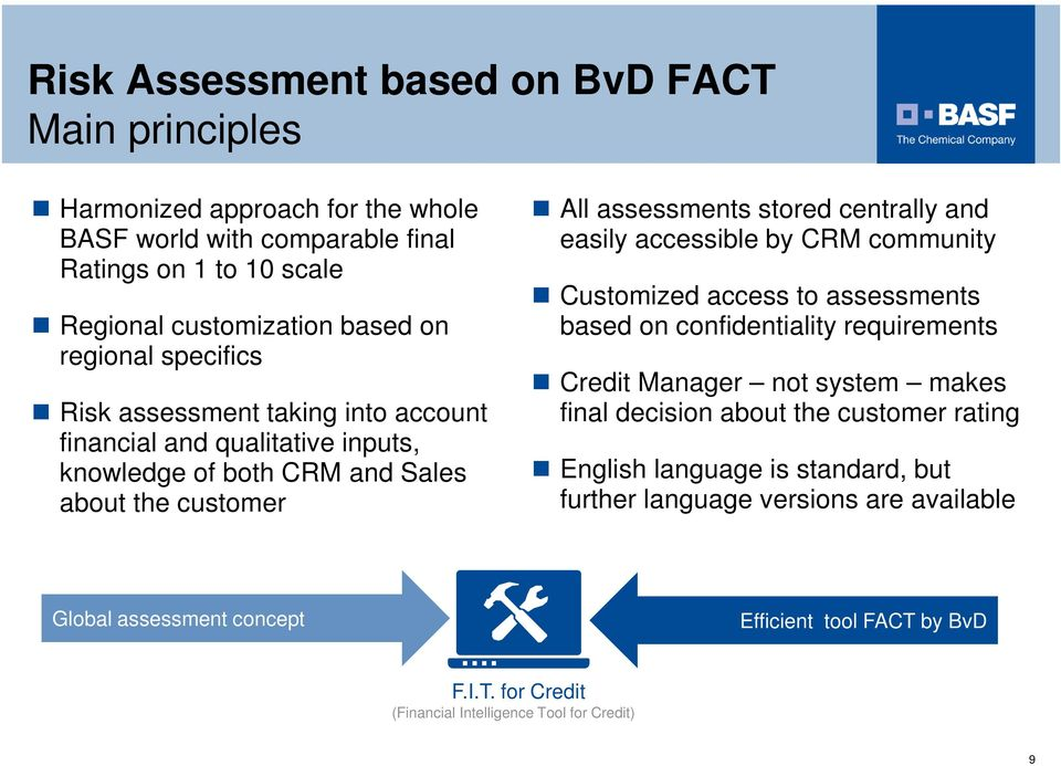 easily accessible by CRM community Customized access to assessments based on confidentiality requirements Credit Manager not system makes final decision about the customer rating